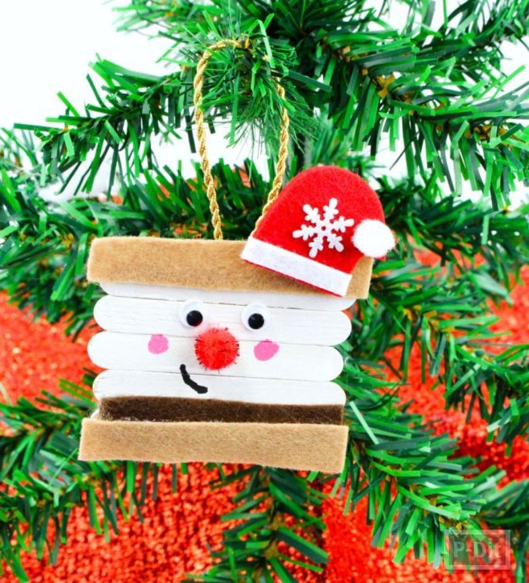 ซานตาครอส ทำจากไม้ไอติม ประดับต้นคริสต์มาส