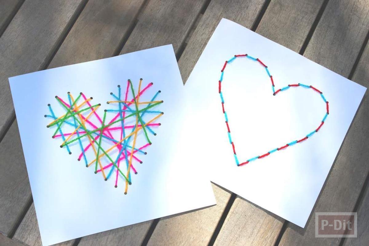การ์ดส่งความรัก รูปหัวใจร้อยเชือก