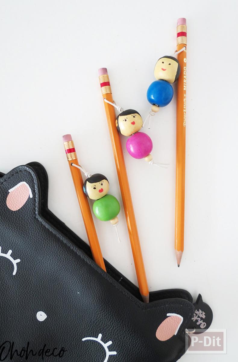 ตกแต่งดินสอ ด้วยตุ๊กตาไม้ ทาสีสด