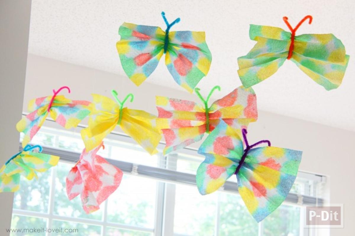 ผีเสื้อกระดาษทิชชู่ ย้อมสี ประดับบ้าน