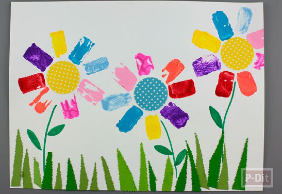วาดรูปดอกไม้ จากแกนกระดาษทิชชู